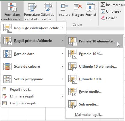 Formatare condiționată - Primele 10 opțiuni de format