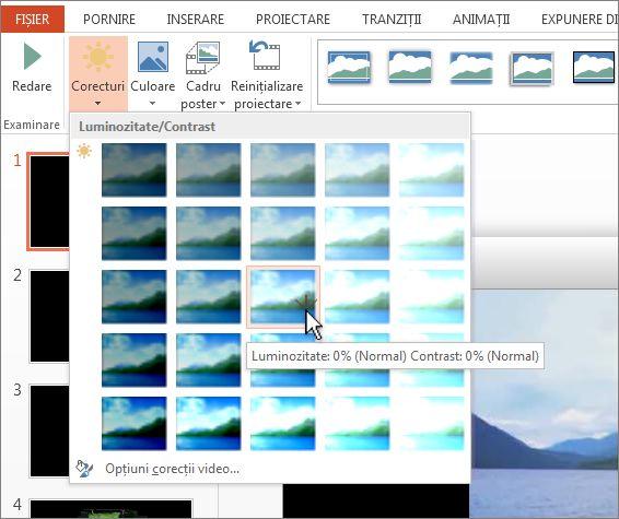 Ajustarea luminozității și contrastului într-un videoclip