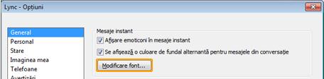 Modificarea fontului mesajului instant