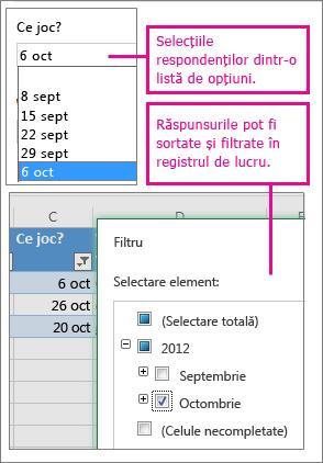 Selectarea dintr-o listă de opțiuni simplifică sortarea și filtrarea