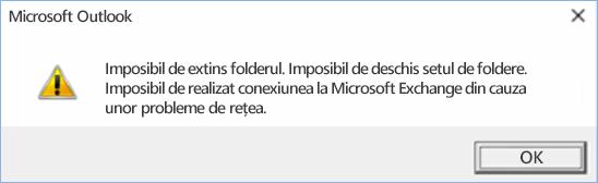 Eroare Outlook 2016 - Imposibil de extins folderul