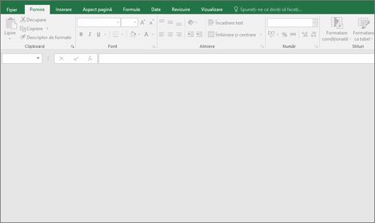 Necompletat fereastra Excel cu butoanele indisponibile; Nicio registru de lucru deschise.