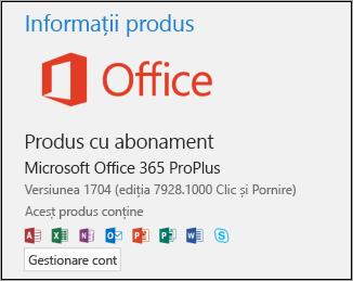 Numărul de versiune și compilare sub Informații despre produs