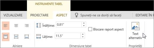 Captura de ecran afișează fila Aspect din Instrumente tabel cu cursorul indicând opțiunea Text alternativ.