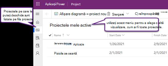 Fila proiecte din Project Power App, afișând vizualizarea proiectele mele active