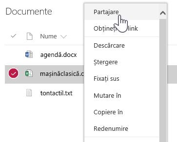 Meniul pentru clic cu butonul din dreapta Document SPO cu opțiunea Partajare evidențiată