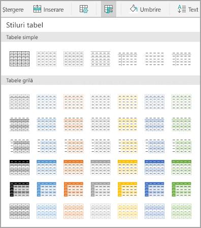 Șabloane de tabel Android