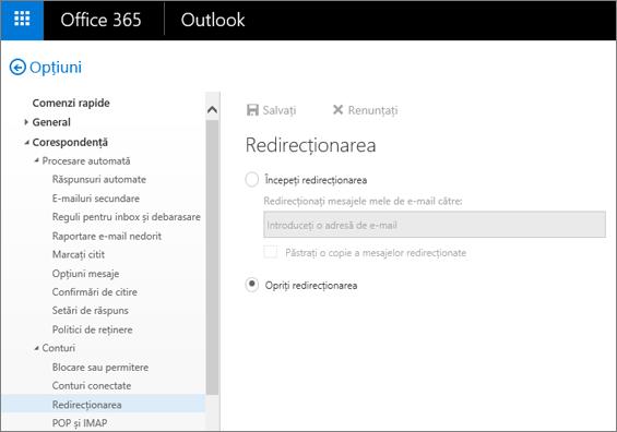Captura de ecran afișează pagina cu opțiunea Redirecționare, cu opțiunea Oprire redirecționare selectată.