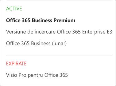În pagina Abonamente a centrului de administrare Office 365 care afișează o listă cu mai multe abonamente grupate după starea lor.