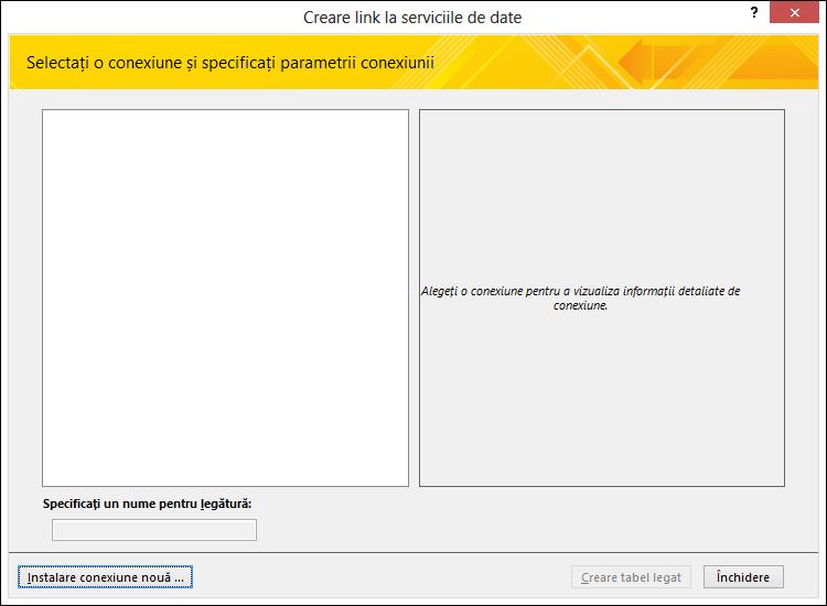 Instalarea unei conexiuni de date serviciu Web