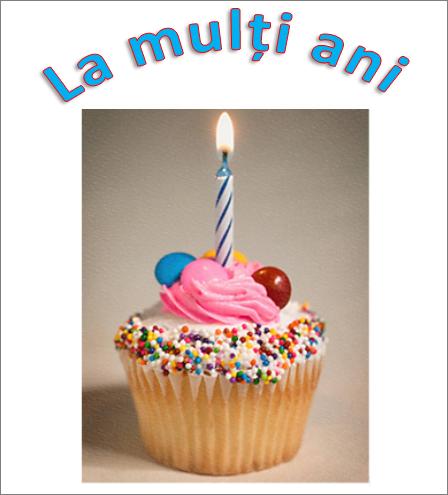 Exemplu de WordArt cu cuvintele La mulți ani și o imagine