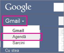 google gmail - faceți clic pe agendă