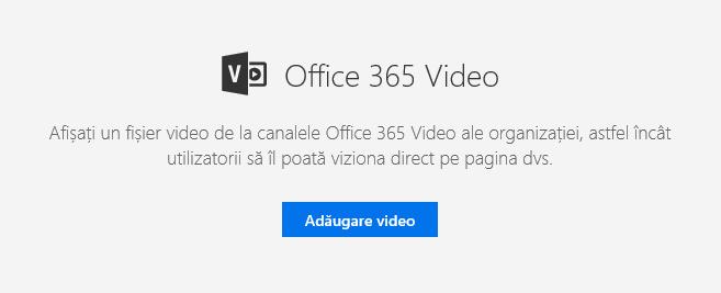 Captură de ecran a casetei de dialog Adăugare video Office 365 în SharePoint.