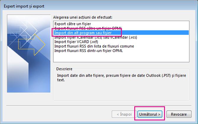 Alegeți să importați e-mailul din alt program sau fișier