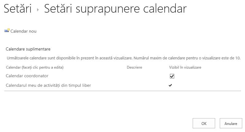 Butonul calendar Overaly pe panglică