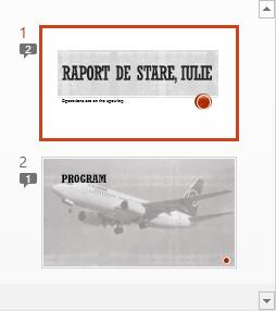 Simbolurile cu numerale indică prezența comentariilor în diapozitive
