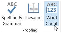 Faceți clic pe contor de cuvinte în fila revizuire