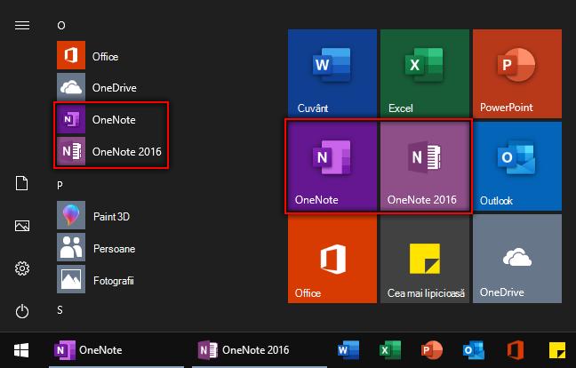 Captură de ecran cu meniul Windows Start cu OneNote și OneNote 2016.