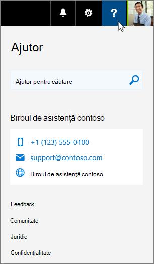 Ajutorul particularizat apare în fișa de ajutor pentru Office 365
