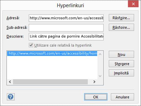 Caseta de dialog Hyperlinkuri pentru a adăuga o descriere pentru un link în Visio.