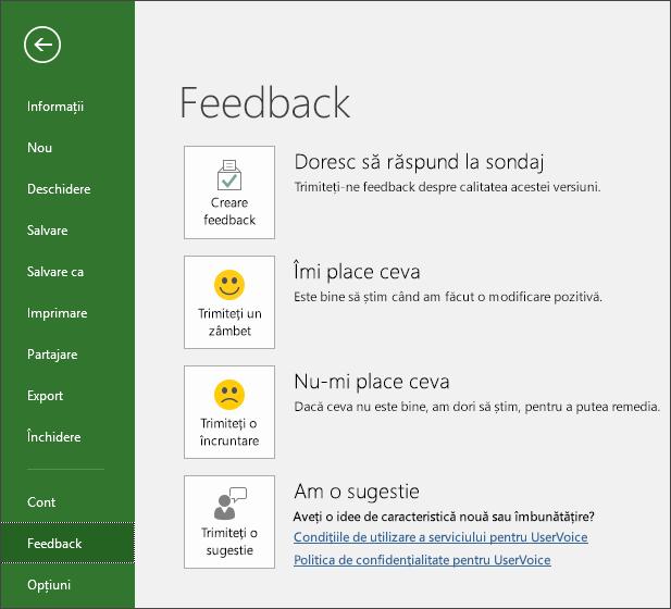 Faceți clic pe Fișier > Feedback pentru a oferi comentarii sau sugestii despre Microsoft Project