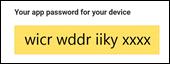 Copiați parola de aplicație fără spații