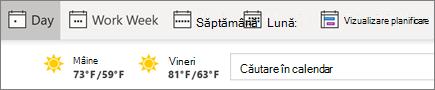 Modificarea vizualizărilor în calendarul Outlook
