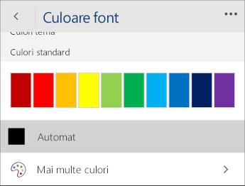 Captură de ecran a meniului Culoare font, cu opțiunea Automat selectată.
