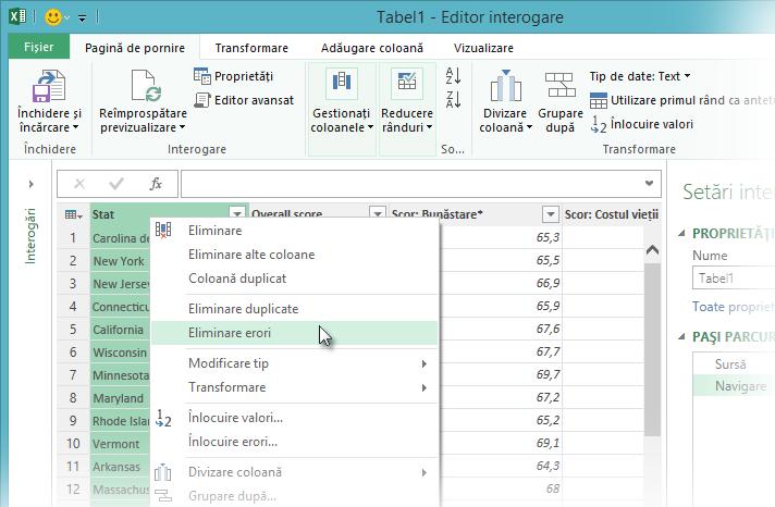 Meniul contextual Eliminare erori - Editor interogare