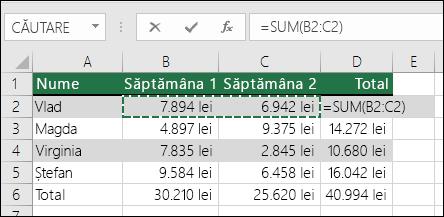 Celula D2 arată formula de sumă Însumare automată: =SUM(B2:C2)