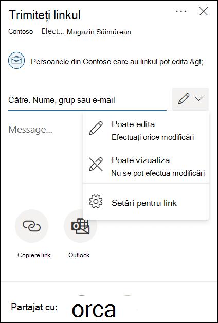 OneDrive de permisiuni de partajare cu opțiuni doar de editare sau de vizualizare.