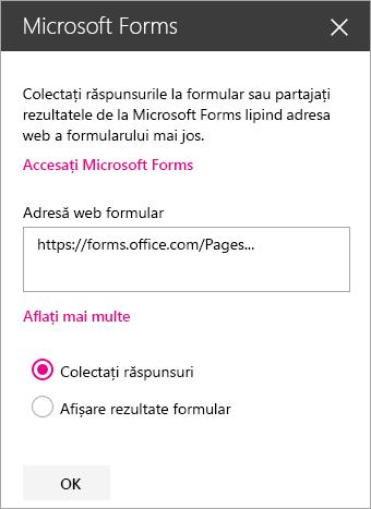 Panoul părții web Microsoft Forms pentru un formular existent.