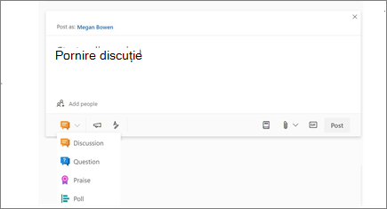 select the Discussion icon to start a discussion