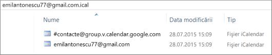 O imagine cu aspectul calendarului exportat după ce l-ați dezarhivat.