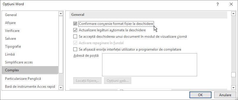 Opțiunea Confirmare conversie format fișier la deschidere