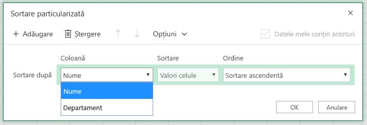 """Caseta de dialog Sortare particularizată cu coloana sortare după rând este selectată în coloana """"Nume"""""""