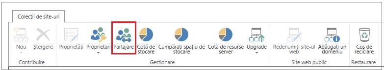 panglica din centrul de administrare SharePoint Online cu butonul Partajare evidențiat