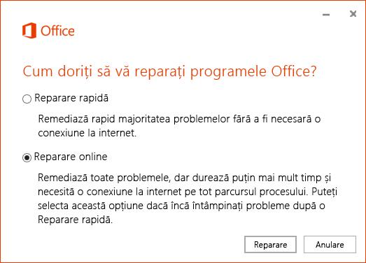 Caseta de dialog Reparare Office atunci când reparați aplicația de sincronizare OneDrive pentru business