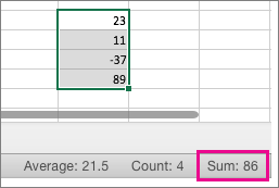 Selectați o coloană de numere pentru a vedea suma din partea de jos a paginii