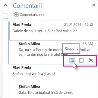 Imaginea comenzii Răspuns de sub comentariul din panoul Comentarii din Word Web App.