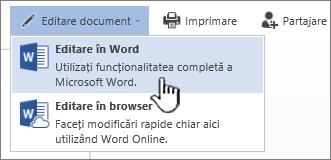 Document Word deschis din biblioteca SharePoint cu opțiunea Editare în Word evidențiată