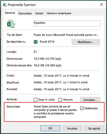 Faceți clic dreapta pe fișierul în Windows Explorer pentru a debloca macrocomenzi.