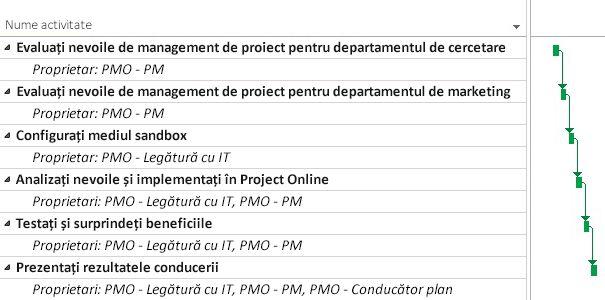 Plan de proiect PMO în Project Online