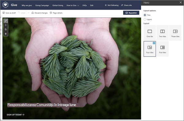 Opțiunile de aspect pentru partea Web erou în timp ce editați o pagină modernă în SharePoint