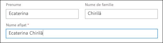 Captură de ecran a adăuga un utilizator în Office 365, afișând câmpurile Prenume, nume de familie și Nume afișat.