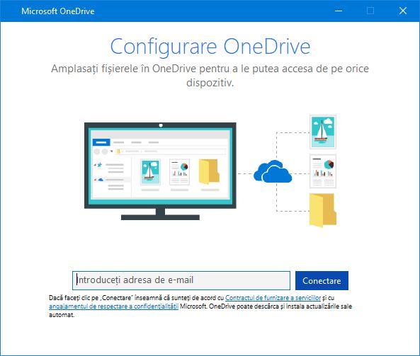 Interfața de utilizator nouă a ecranului de instalare OneDrive