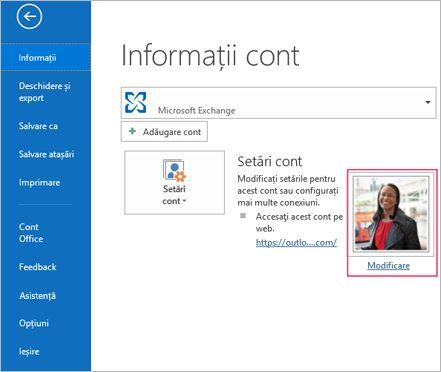 Linkul modificare fotografie în Outlook