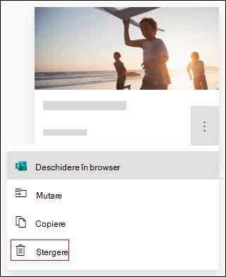 Opțiunea Ștergere dintr-un formular din Microsoft Forms.