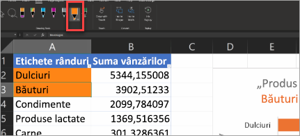 Show's Action Pen in Excel