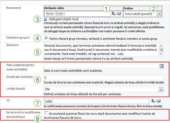 A doua pagină a formularului de asociere, cu explicații numerotate